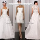 2-In-1 Dismountable White Wedding Dress A-line Bridal Gown Short Lace Bridal Dress  Sz24 6 8 10+