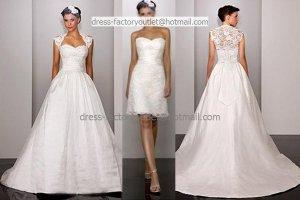 2-In-1 Dismountable White Wedding Dress A-line Bridal Gown Short Lace Bridal Dress  Sz24 6 8 10+
