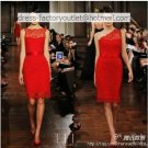 Red Lace Wedding Dress One Shoulder /Boat Neck Short Bridal Evening Dress Sz 2 4 6 8 10 12+Custom
