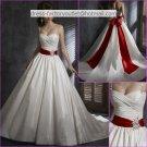 A-line Ivory Wedding Dress 2 Thin Straps Bridal Dress Red Bow Sash Sz 0 2 4 6 8 10 12 14+ Custom