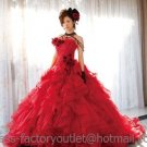 A-line Red Organza Flowers Wedding Dress Strapless Luxury Bridal Dress Gown Sz 2 4 6 8 10 12 14+