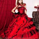 A-line Red Black Organza Quinceanera Dress Strapless Halloween Prom Dress Gown Sz 2 4 6 8 10 12 14+