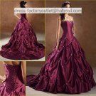 A-line Purple Taffeta Wedding Dress Strapless Bridal Dress Gown Laces Back Sz 2 4 6 8 10 12 + Custom