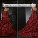 A-line Red Taffeta Wedding Dress Strapless Flowers Bridal Dress Sz 0 2 4 6 8 10 12 + Custom