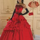 A-line Red Organza Black Lace Quinceanera Dress Strapless Halloween Prom Dress Sz 2 4 6 8 10 12 14+