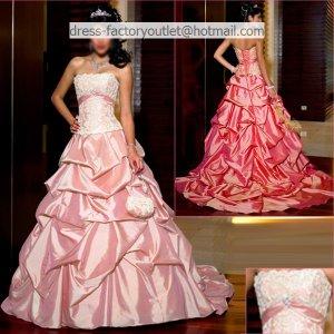 A-line Ruffled Hot Pink Taffeta Wedding Dress Strapless Bridal Dress Sz 0 2 4 6 8 10 12 +Custom
