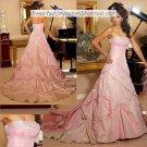 A-line Ruffled Hot Pink Taffeta Wedding Dress Strapless Bridal Dress Sz 0 2 4 6 8 10 12 14+Custom
