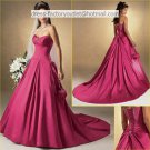 A-line Purple Satin Wedding Dress Strapless Bridal DressProm Dress Sz 0 2 4 6 8 10 12 14+Custom