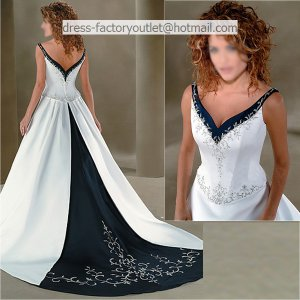 A-line Embroidery Blue White Wedding Dress V-neck Bridal Dress Ball Gown Sz 4 6 8 10 12 14+Custom