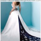 A-line Blue White Lace Wedding Dress Strapless Bridal Dress Ball Gown Sz 4 6 8 10 12 14+Custom