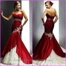 Mermaid Red Taffeta Wedding Dress Champagne/Gold Lace Strapless Bridal Dress Gown Sz4 6 8 10 12 14 +