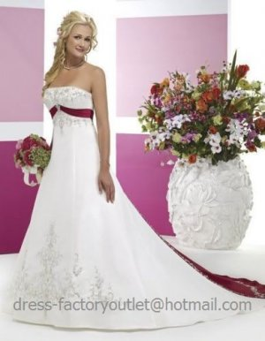 A-line Red White Wedding Dress Embroidery Strapless Bridal Dress Gown Sz4 6 8 10 12 14 16 +Custom