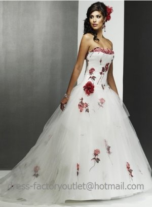 A line Wine Red Roses White Wedding Dress Embroidery Strapless