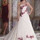 A-line Wine Red Flowers White Wedding Dress Strapless Bridal Gown Sz4 6 8 10 12 14 +Custom