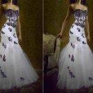 Gothic Strapless Bridal Ball Gown Black Lace White Organza Mermaid Wedding Dress Sz 2 4 6 8 10 12++