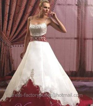 A-line Red White Wedding Dress Embroidery Spaghetti Straps Bridal Gown Sz4 6 8 10 12 14 +Custom