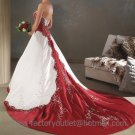 A-line Red White Wedding Dress Embroidery Strapless Bridal Gown Sz4 6 8 10 12 14 +Custom