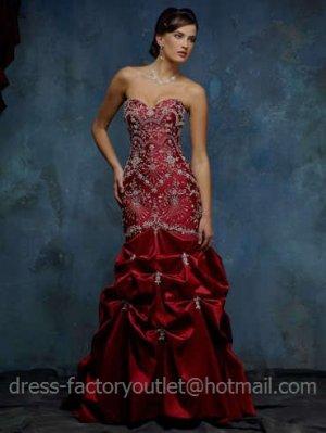 Sheath Red Wedding Dress Embroidery Beaded Strapless Bridal Gown Sz2 4 6 8 10 12 14+Custom