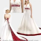 A-line Red White Wedding Dress Embroidery Halter Bridal Gown Sz2 4 6 8 10-16+Custom