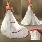 A-line Red White Wedding Dress Applique Laces Bridal Gown Sz2 4 6 8 10-12 14+Custom
