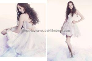 White Lace Organza Short Bridal Dress Strapless Above Knee Beach Wedding Dress Prom Dress