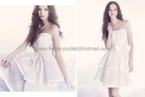 White Satin/Taffeta Short Bridal Dress Strapless Bodice Party Prom Dress Bow Sash Wedding Dress