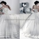 White Ivory Lace Organza Bridal Gown Evening Dress Satin Stripes Bodice Wedding Dress