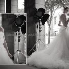 White Ivory Organza Bridal Gown Evening Dress Backless Wedding Dress