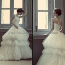 White Ivory Ruffled Tulle Bridal Gown Bridal Dress 2 Straps Bodice Wedding Dress Long Train