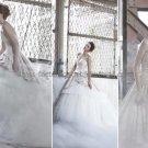 Ivory Tiered Organza Bridal Gown Strapless Bodice Champagne Satin Wedding Dress Sz24 6 8 10+