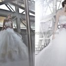 Ivory White Organza Bridal Gown Strapless Bodice Purple Sash Wedding Dress Ball Gown Sz24 6 8 10+