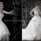 Ivory White Organza Lace Bridal Gown Strapless Bodice Strapless Wedding Dress Ball Gown