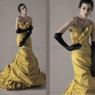 Gold Taffeta  Bridal Dress Yellow Ball Gown QUINCEANERA DRESS Sz 24 6 8 10+