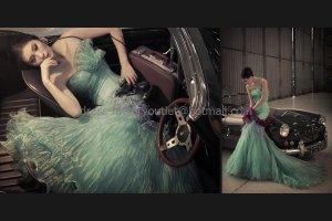 Green Organza Bridal Dress Blue Ball Gown QUINCEANERA DRESS Sz 24 6 8 10 12 14 16+