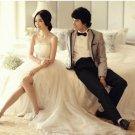 Ivory Chiffon Bridal Dress Strapless Empire Waist Wedding Dress Evening DRESS Sz4 6 8 10 12+