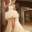 Champagne Organza Lace Wedding Dress A-line Long Bridal Gown Hi-low Bridal Dress