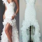 White Chiffon Wedding Dress Jeweled Bridal Gown Hi-low Bridal Dress Sz 2 4 6 8 10+