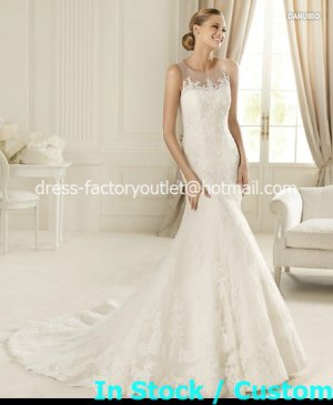 2013 New A-line  Bridal Gown White Ivory Lace Sheer Round -neck Wedding Dress Sz 4 6 8 10 12+Custom