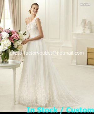 2013 A-line Bridal Gown White Ivory Lace One Shoulder Flowers Wedding Dress Sz 4 6 8 10 12+Custom