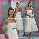 A-line Royal Bridal Gown Strapless Empire Waist Tea Length Wedding Dress Sz 4 6 8 10 12+Custom