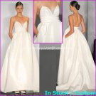 A-line White Taffeta Bridal Ball Gown Empire Waist Backless Wedding Dress Sz 6 8 10 12 14+Custom