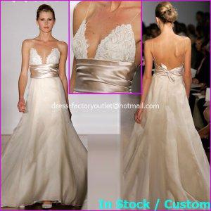 A-line Bridal Ball Gown Backless Empire Waist Champagne SATIN Wedding Dress Sz 4 6 8 10 12+Custom
