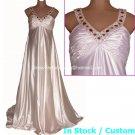 A-line Bridal Gown Red Rhinestones V-neck Maternity Pregnant Wedding Dress Sz 4 6 8 10 12 14 16+
