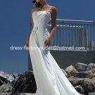 A-line Beach Bridal Dress One Shoulder Pregnant White Chiffon Wedding Dress Sz 4 6 8 10 12 14+