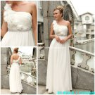A-line Beach Bridal Dress One Shoulder Jeweled White Chiffon Wedding Dress Sz 4 6 8 10 12 14+
