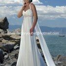 A-line Beach Bridal Dress HALTER Jeweled Maternity White Chiffon Wedding Dress Sz 4 6 8 10 12 14+