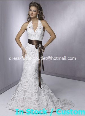 Mermaid Beach Bridal Dress HALTER White Lace Coffee Sash Wedding Dress Sz 4 6 8 10 12 14+