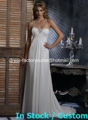 A-line Beach Bridal Dress HALTER Jeweled Bodice White Chiffon Wedding Dress Sz 4 6 8 10 12+