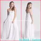 A-line Bridal Dress Strapless Maternity Empire White Chiffon Wedding Dress H27 Sz6 8 10 12 14 16+