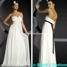 A-line Bridal Dress Strapless Maternity White Black Chiffon Wedding Dress M70 Sz6 8 10 12 14 16+